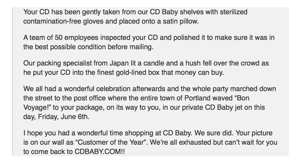 Derek Sivers' CD Baby Email
