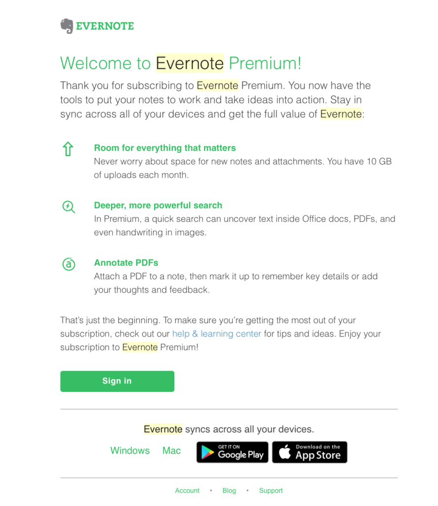 Evernote Transactional Emails
