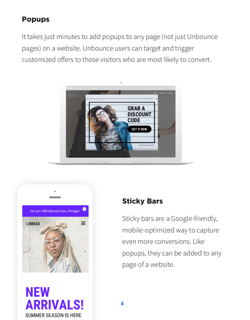 Unbounce Pop-ups and Sticky Bars