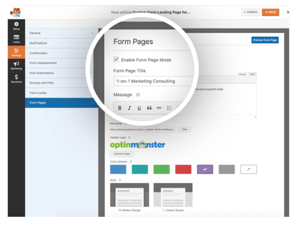 creating form pages with WPforms