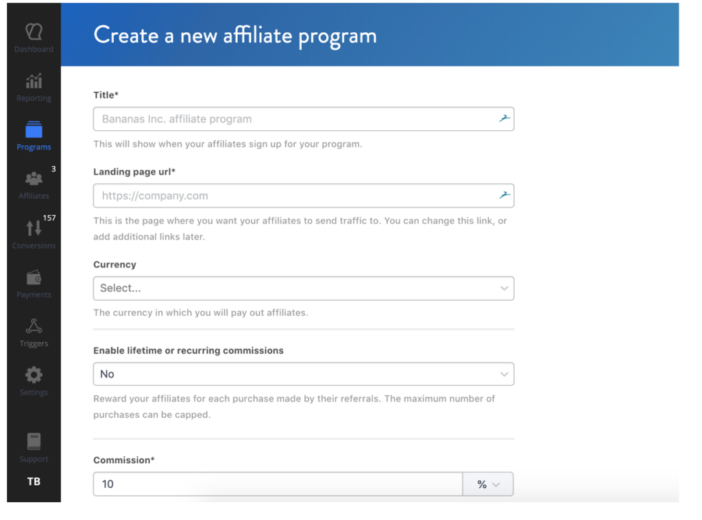 Create Affiliate Program with Tapfiliate